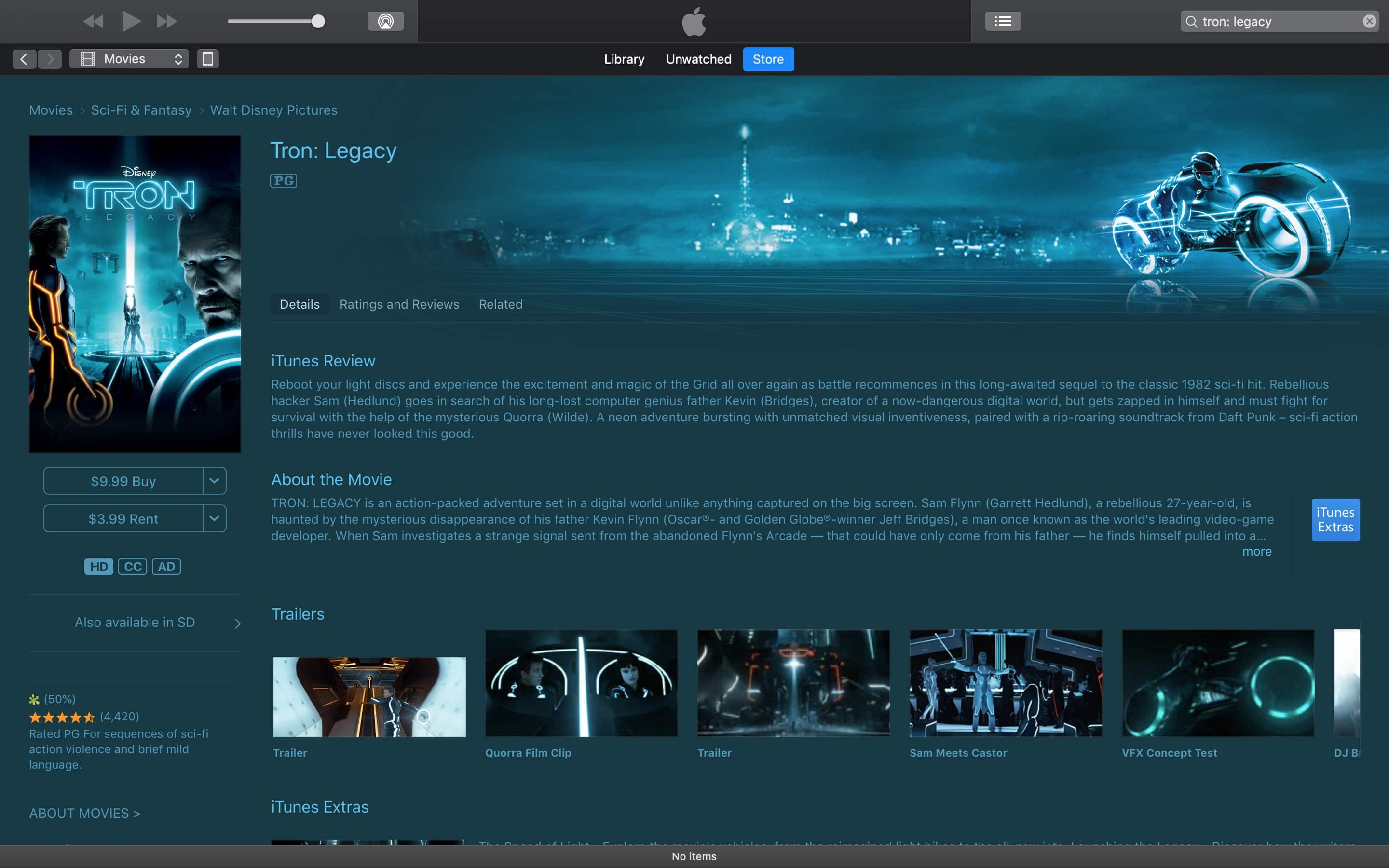 Disney's Tron (The Original) and Tron Legacy (new one) on Sale on iTunes and Amazon for $9.99 in HD