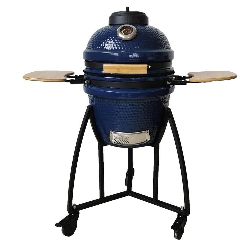Lifesmart Kamado 133 sq. in. Cooking Surface Charcoal Grill and Smoker with Electric Starter and Grill Cover in Blue-SCS-K15C - The Home Depot $339.00
