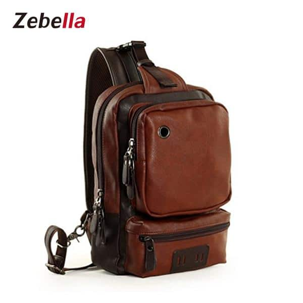 Men's leather school travel Crossbody with Code BAGCLEAR+Free shipping $7.99