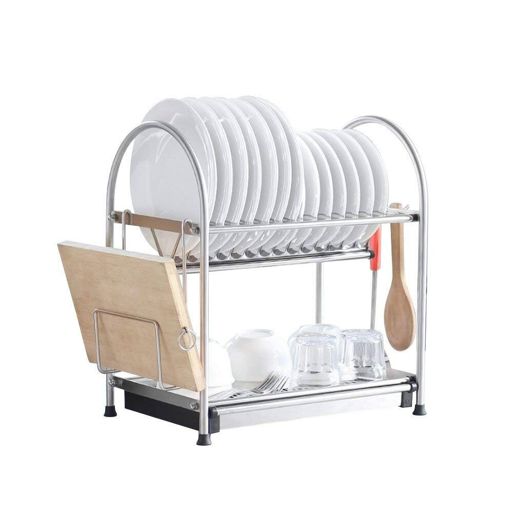 Stainless Steel 2-Tier Dish Rack With Draining Pan + Cutting Board Holder $36.52