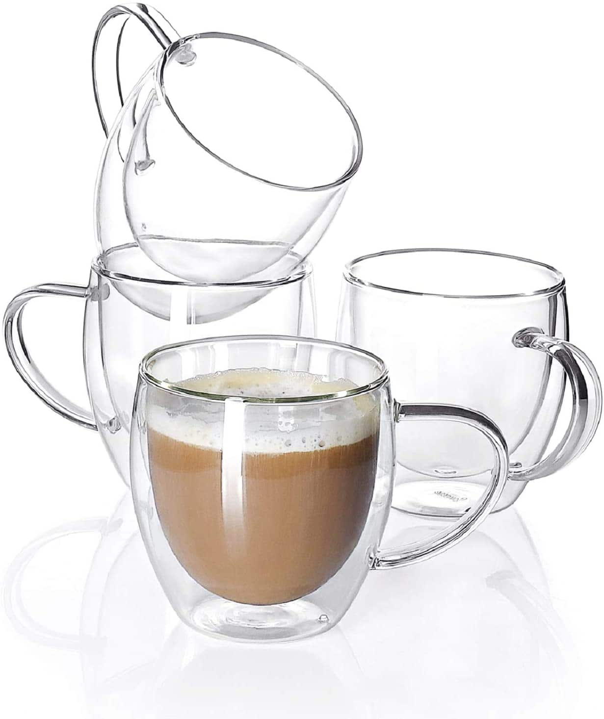 Sweese Glass coffee mugs for Espresso, Latte, Cappuccino, 8 oz - 4 Pack $18.59