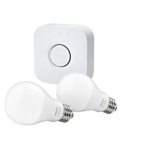 Philips Hue White A19 60W Equivalent Smart Bulb Starter Kit $49.99