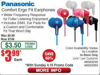 Panasonic Comfort ErgoFit wired headphones / earbuds $3.99 with promo code, Frys in-store only