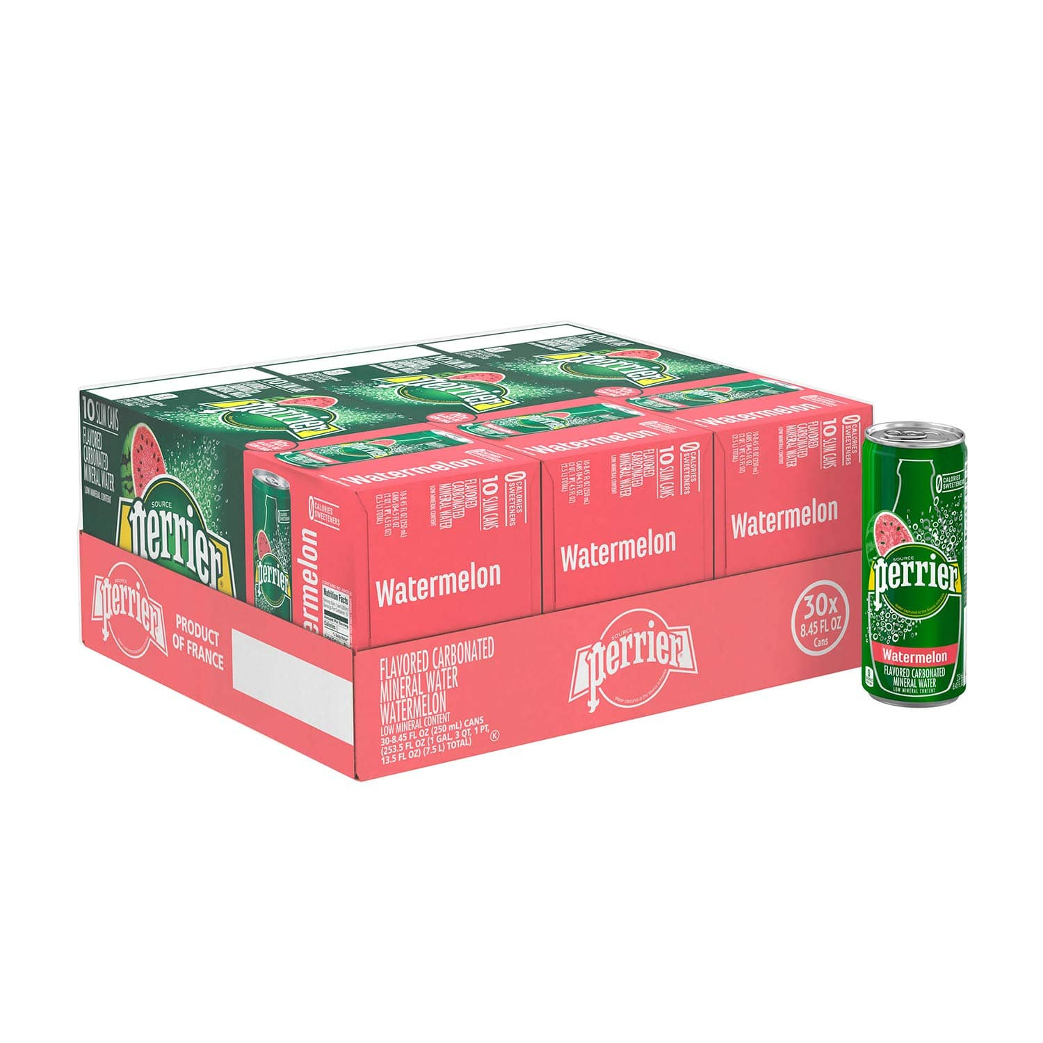 Perrier Sparkling Mineral Water, Watermelon, 8.45 fl oz. Slim Cans (Pack of 30) S&S $8.52