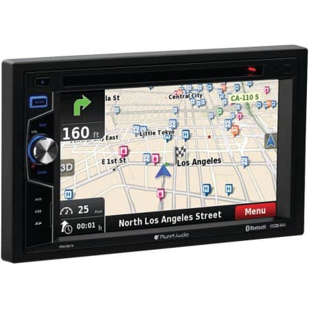 """Planet Audio PNV9674 6.2"""" Double-DIN In-Dash Navigation Touchscreen DVD Receiver with Bluetooth $90"""