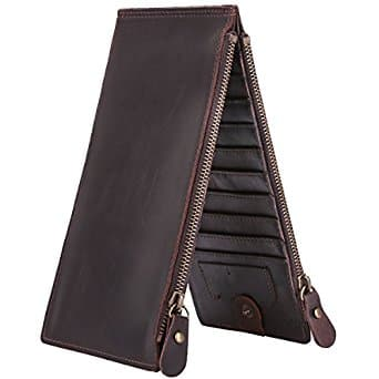 Crazy Horse Leather 19 Card Slots Long Organizer Wallet with Zipper Pocket $16.79