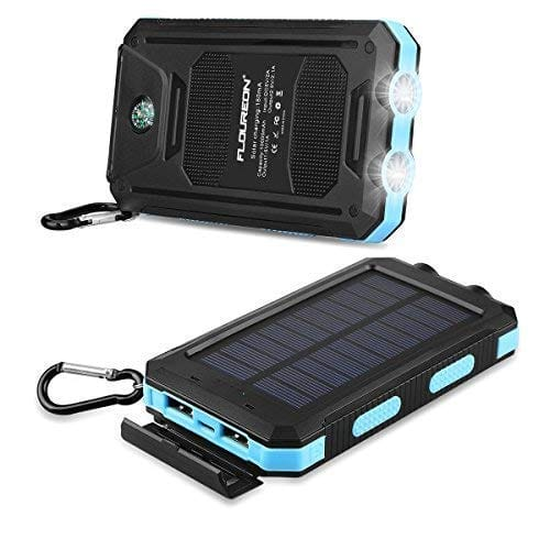 10,000mAh Solar Power Bank Waterproof Solar Phone Charger with Dual USB 1.0A/2.0A Max Waterproof Portable Cell Phone Power Bank (Blue) $9.99+FS