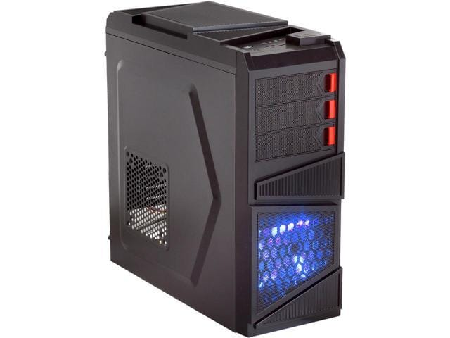 Rosewill - Black Gaming ATX Mid Tower Computer Case - Top-Mounted USB 3.0 Port, Three Fans Included: 1 x Front Blue LED 120mm, 1 x Rear 120mm, 1 x Top 120mm - Galaxy-03 $24.99