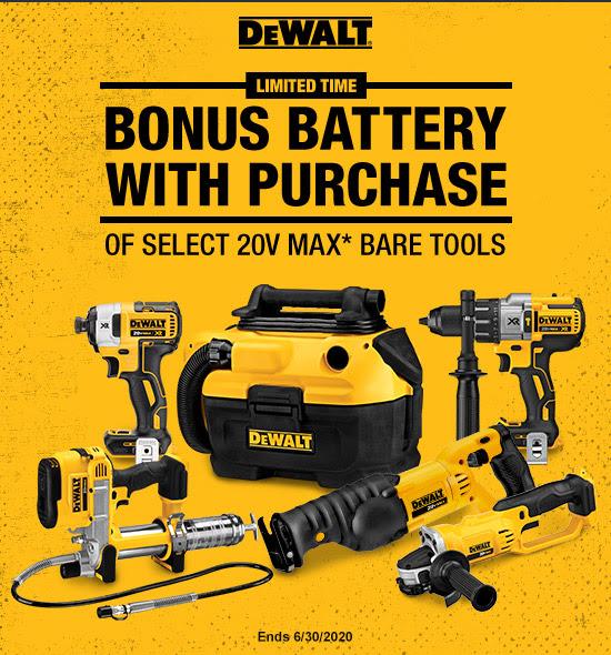 Grainger - Bonus Battery with Purchase of Select DeWalt 20V Max Bare Tool