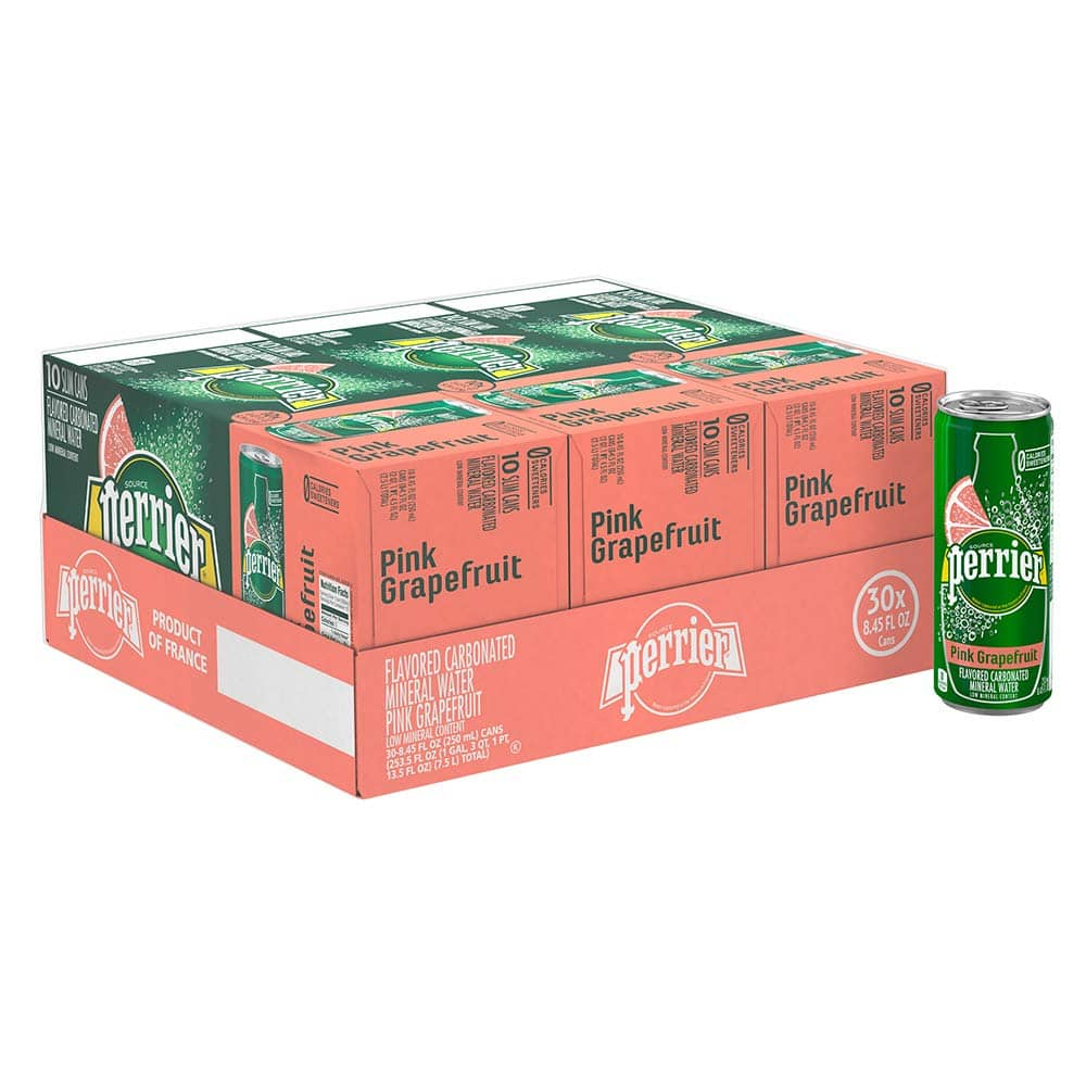 Perrier Pink Grapefruit Flavored Carbonated Mineral Water, 8.45 fl oz. Slim Cans (30 Count) $11.86