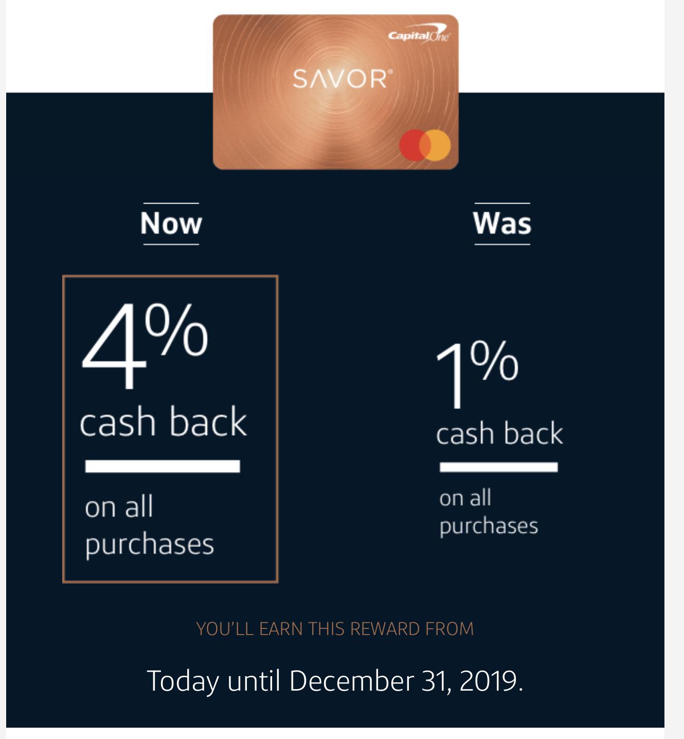 Savor Card Cash Back