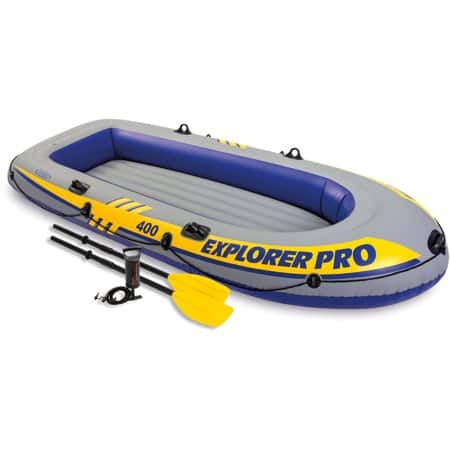 Intex Inflatable Explorer Pro 400 Four-Person Boat with Oars and Pump $9.00