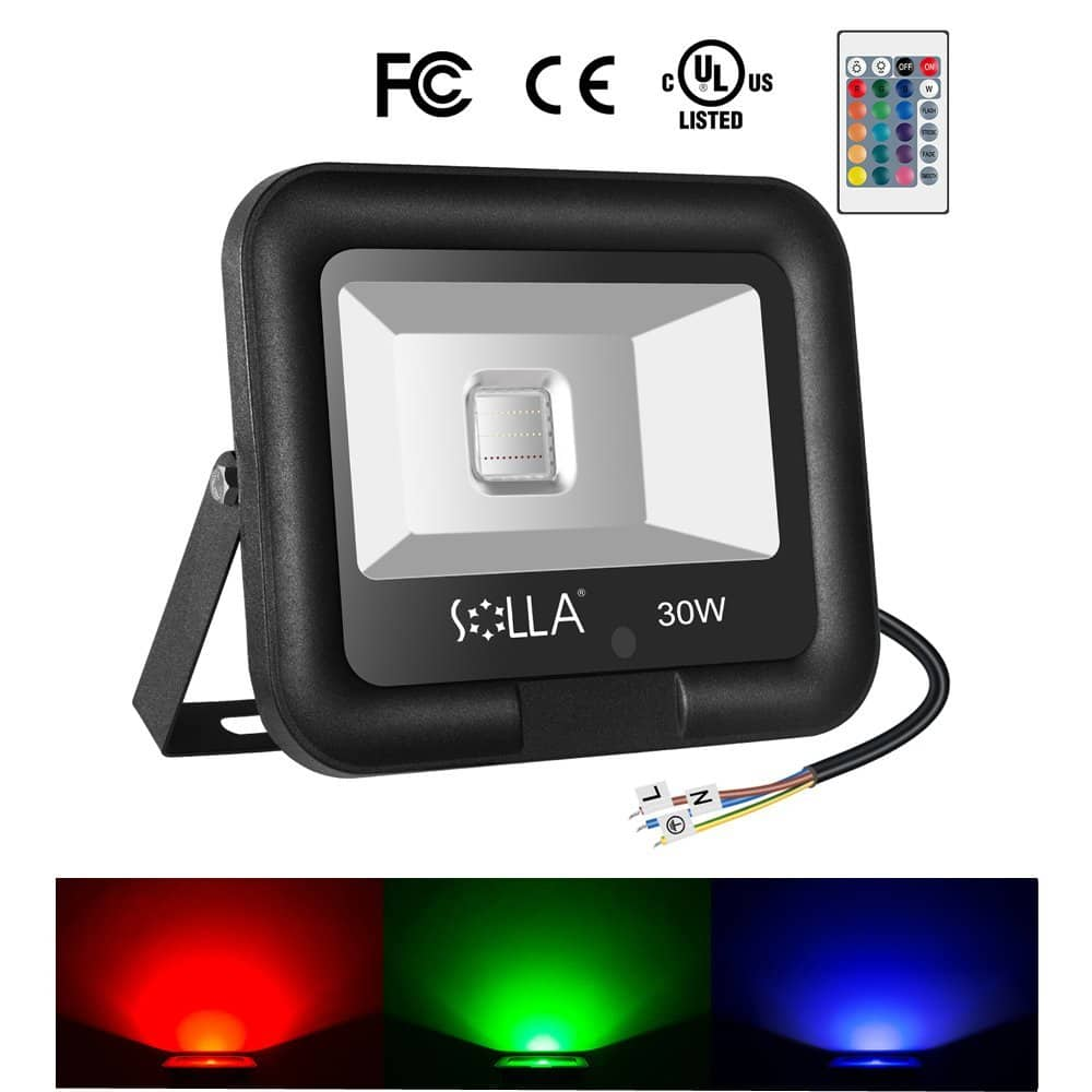 30W RGB Led Flood Light, Outdoor Color Changing Lights with Remote Control, LED Floodlight 16 Colors 4 Modes, IP65 Waterproof Dimmable Wall Washer Light @ Amazon - Starting $19.99