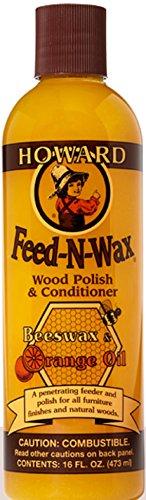 $6 Howard Products FW0016 Feed-N-Wax Wood Polish and Conditioner, Beeswax & &, 16 oz, orange, 16 Fl Oz [1] $6.03