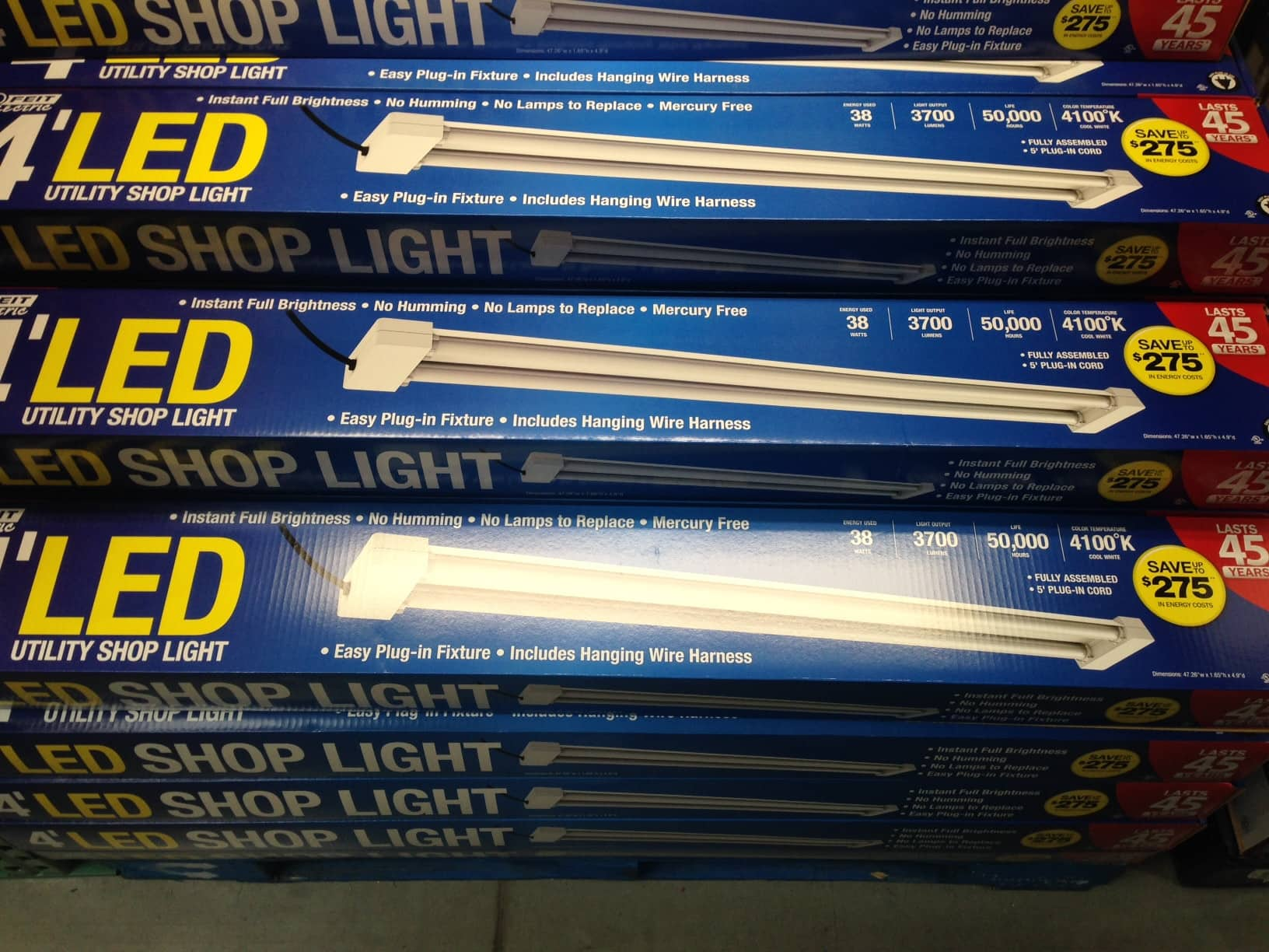 Feit 4 LED Shop Light $39 99 Costco B&M Slickdeals