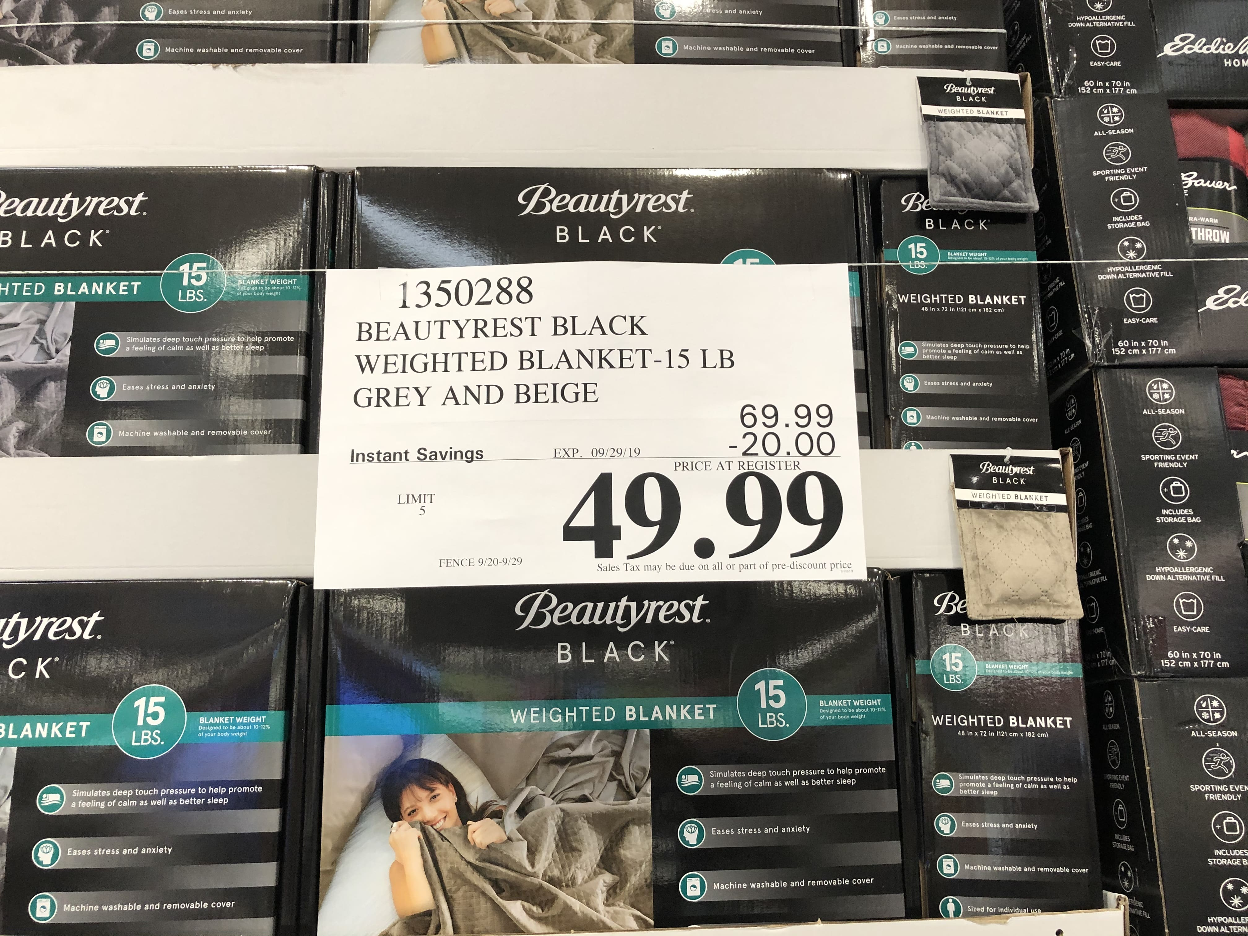 Beautyrest Black Weighted Blanket 15 lbs, Costco B&M $49.99