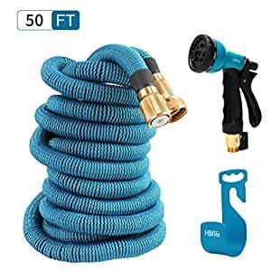 HBlife 50 ft Expandable Garden Water Hose with 8 Spray Pattern Nozzle, Hose Hanger & Storage Bag, Light Blue $13.64 A/C + Free Amazon Prime shipping