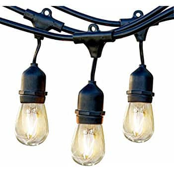 48Ft Weatherproof Outdoor String lights with 24 Dropped Sockets with 26 Bulbs Included for $35.99 @ Amazon.com