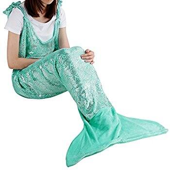 Glittering Mermaid Tail Flannel Blanket for Just $14.94 (Multiple Colors) @ Amazon.com
