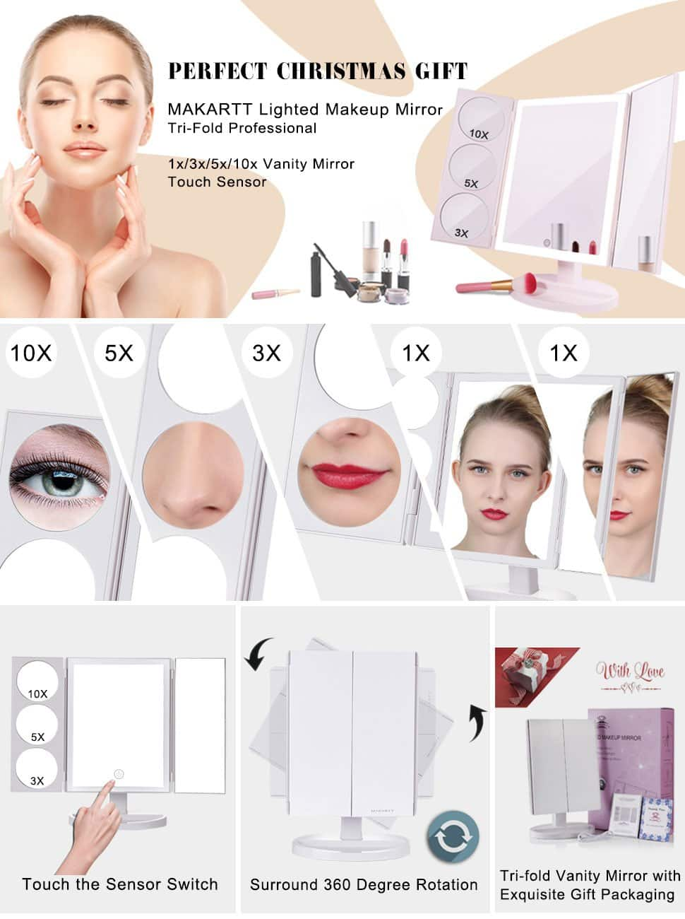 19.2 inch Trifold Professional Vanity/makeup Mirror with 3X/5X/10X Magnification for $27.59 @ Amazon.com