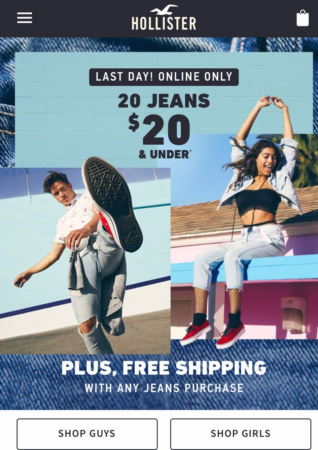 Hollister: $20 Guy's Girl's Jeans Free Shipping
