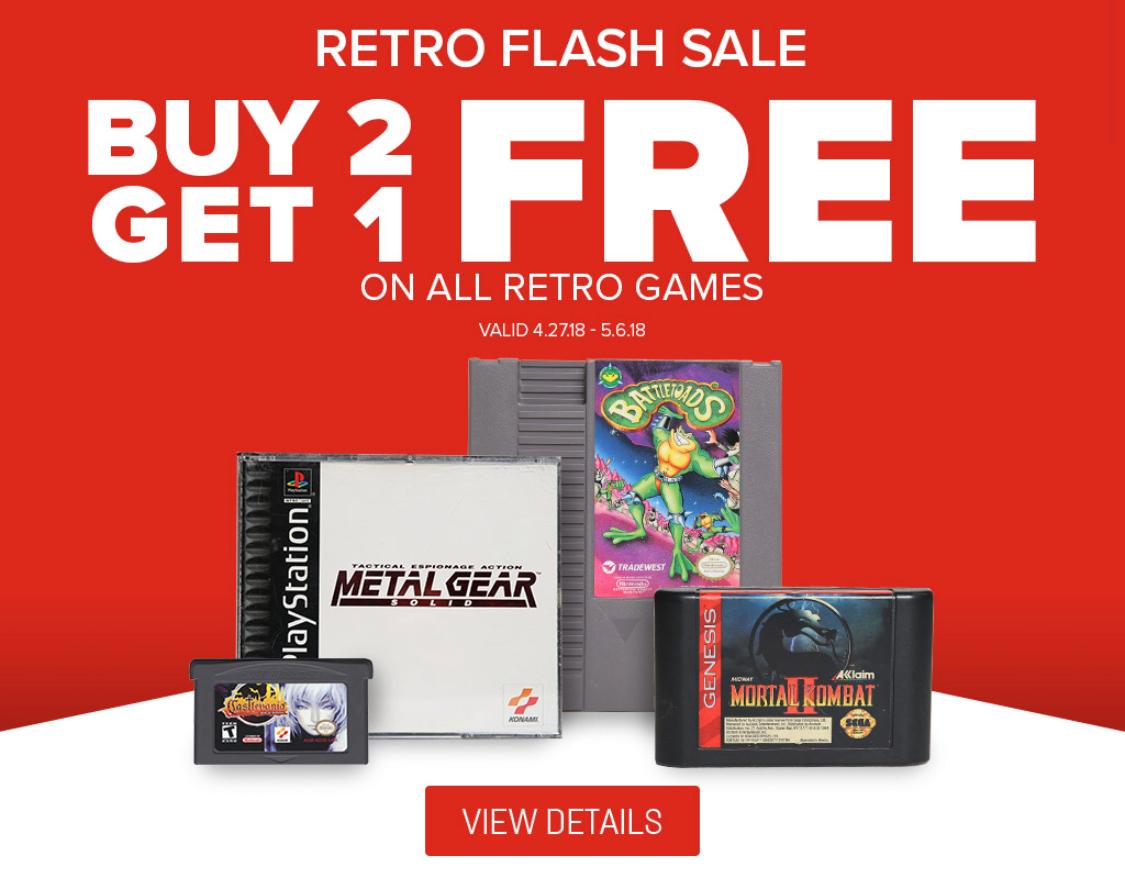 GameStop: Buy 2 Get One Free All Retro Games