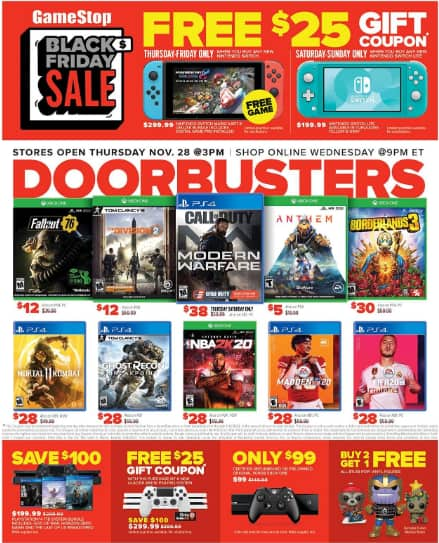 GameStop: Upcoming Black Friday Video Game Deals Game List