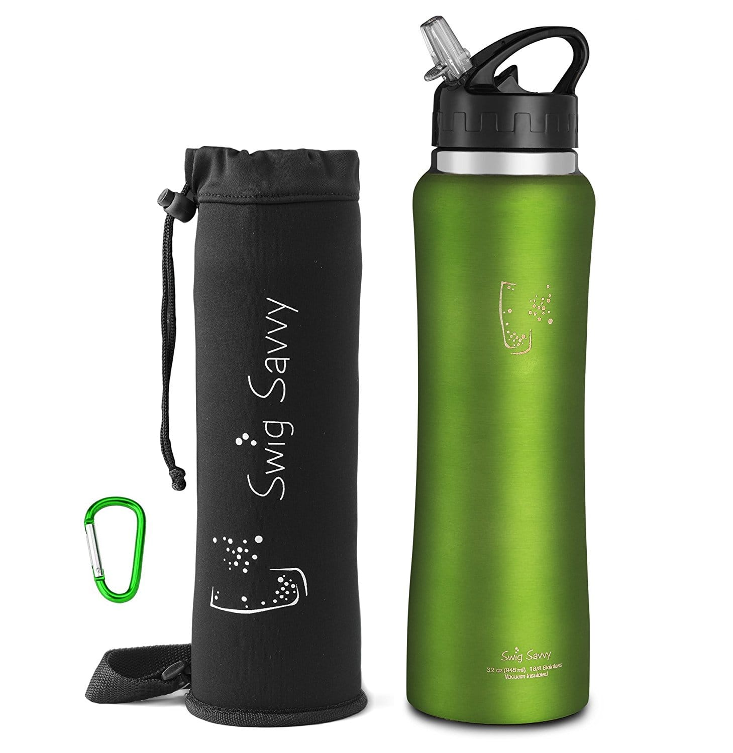 Sports Water Bottle Long Straw: Swig Savvy Stainless Steel Wide Mouth Insulated Water