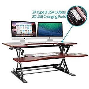 Halter ED-259 Preassembled Height Adjustable Desk Sit / Stand Elevating Desktop with 2 Power Outlets and 2 USB Charging Ports $187.60 Fs Amazon