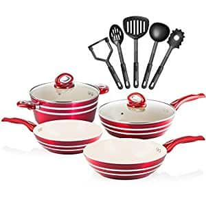 Chef's Star 11 Piece Professional Grade Aluminum Non-stick Pots & Pans Set - Induction Ready Cookware Set - Red / Cream $44.39 + Free shipping Amazon