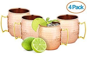 Chef's Star Set of 4 Handmade Hammered Copper Moscow Mule Mug $19.99 FSSS Amazon