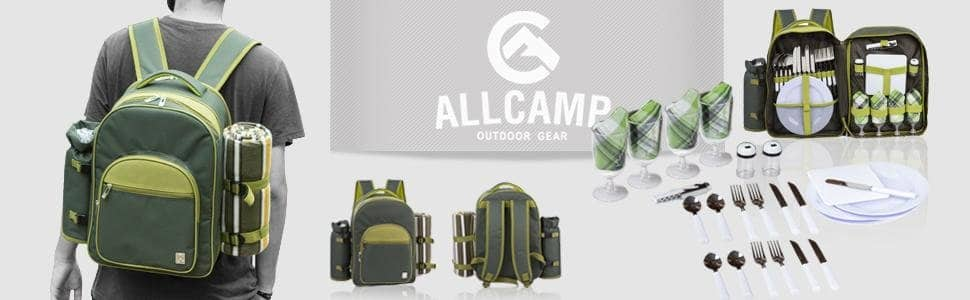 Allcamp Picnic Backpack for 4 Person with Cooler Compartment, Detachable Bottle/Wine Holder, Fleece Blanket, Plates and Cutlery Set, Green $29.99 Fs Amazon