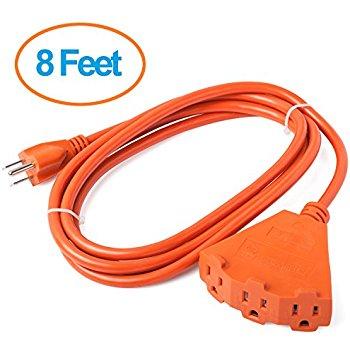 ClearMax ETL Certified 3 Outlet Heavy Duty Extension Cord Power Splitter 16AWG Indoor / Outdoor Use - 8 Feet / 25 Feet (Green/Orange) starting $7.99 FSSS Amazon