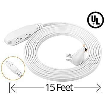 ClearMax 25 Feet 3 Outlet Extension Cord 16AWG Indoor / Outdoor Use - White - UL Listed $10.99 Fsss Amazon