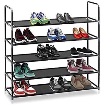 "Halter 5 Tier Stainless Steel Shoe Rack - 35.75"" x 11.125"" x 34.25"" (Gray or Black) $14.99 FSSS Amazon"