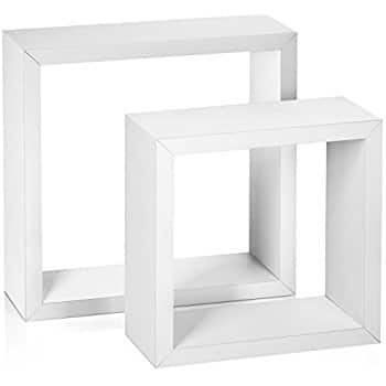 Halter Square Floating Shelves - Set of Two, Large & Medium (White) $7.99 FSSS Amazon