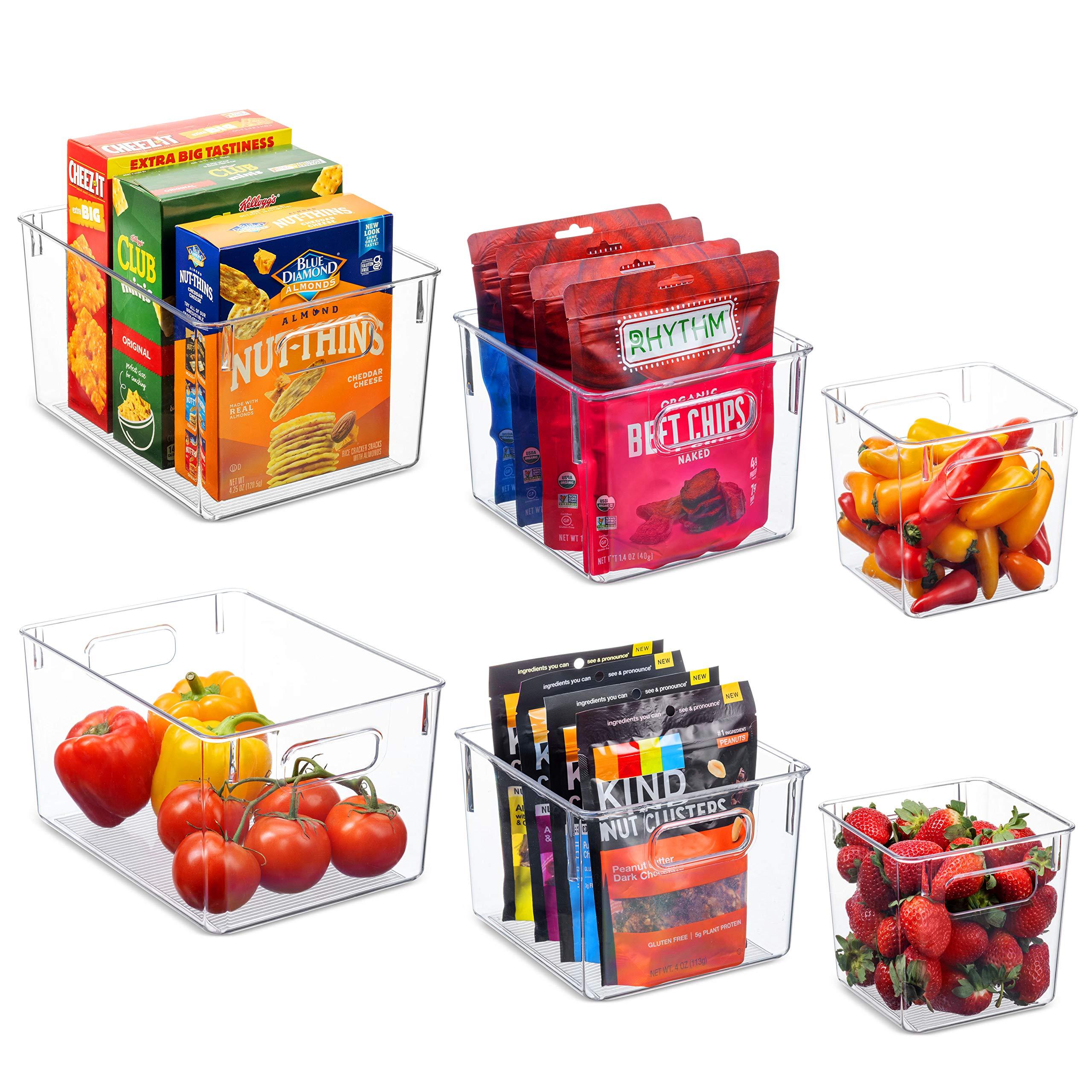 Set Of 6 Clear Pantry Organizer Bins Household Plastic Food Storage - $19.99 Amazon