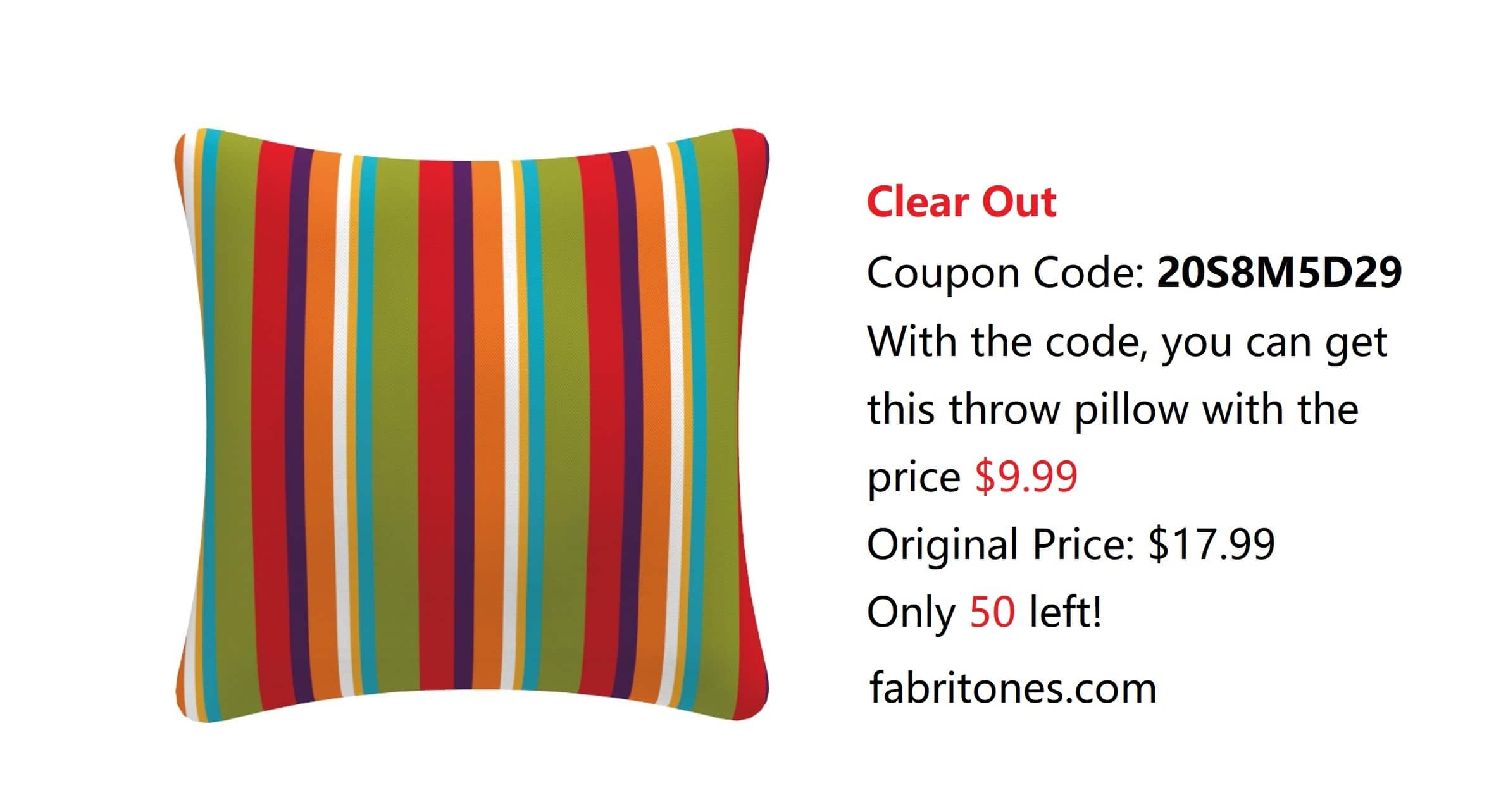 Outdoor Throw Pillow 45% off, US Free Shipping $9.99