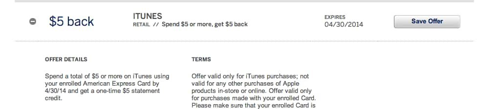 Amex Offer - Spend $5 or more on iTunes and get $5 Back - YMMV
