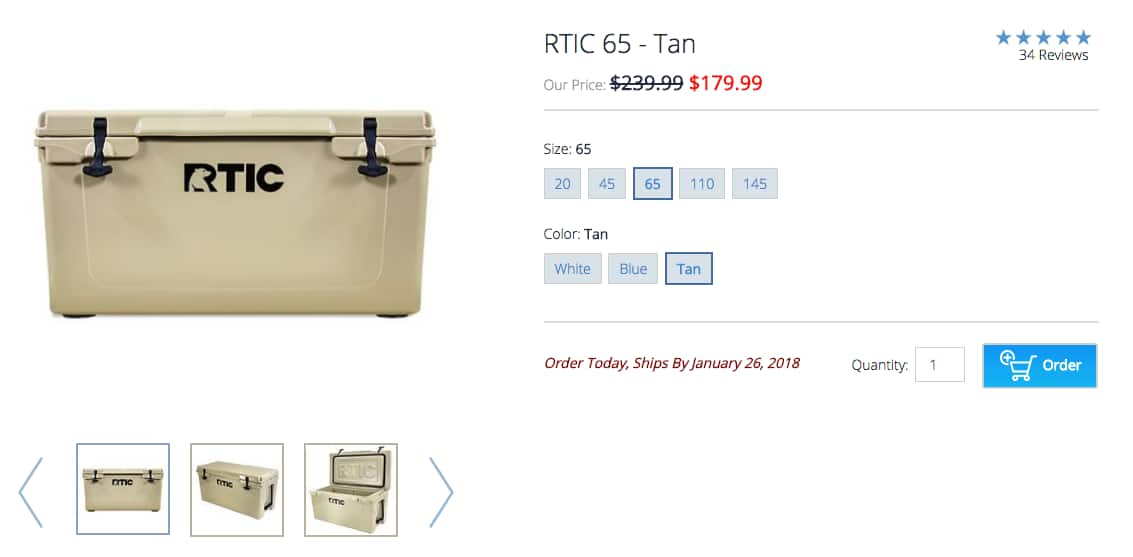 RTIC 65 Rotomolded Cooler $179.99   $60 off
