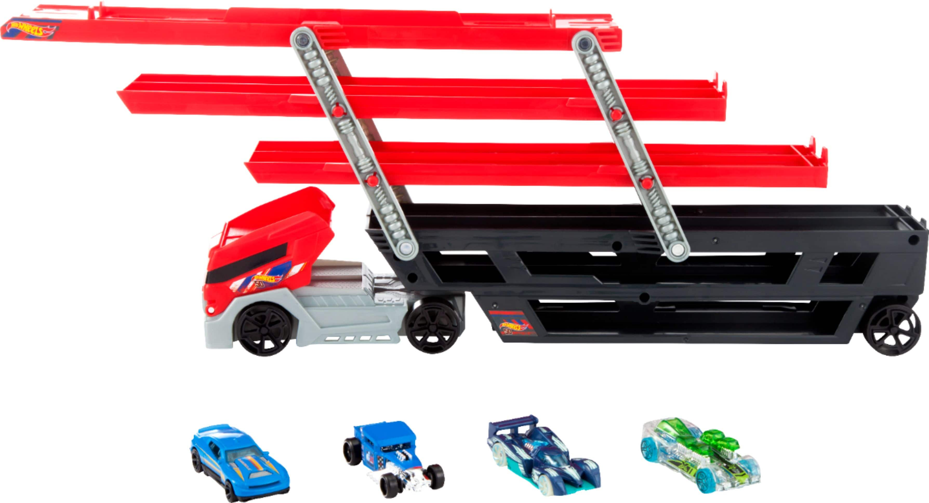 Hot Wheels - Mega Hauler Truck with 4 Cars - Red/Black $10.99 Free Pickup