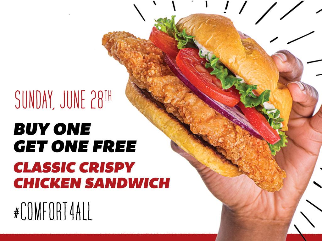 BOGO Free SMASHBURGER Classic Crispy Chicken Sandwich - Jun 28th only