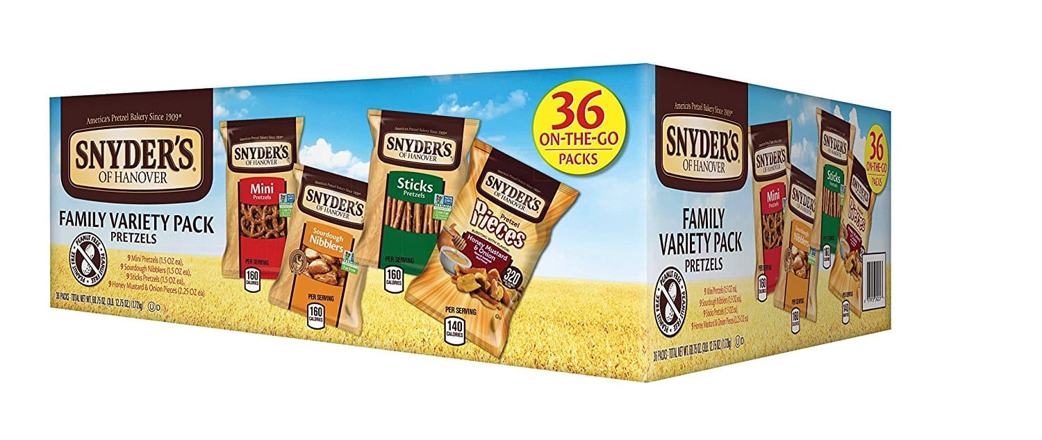 Add-on Item: 36-Count Snyder's of Hanover Pretzel Variety Pack $7.65