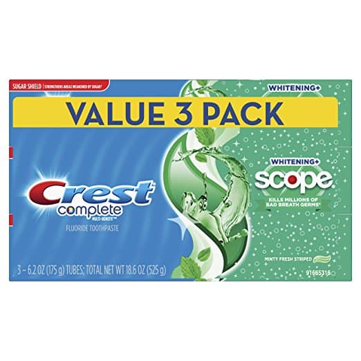 Add-on: Crest Complete Whitening Plus Scope Toothpaste - Minty Fresh, 6.2 oz, Pack of 3 $4.92 AC