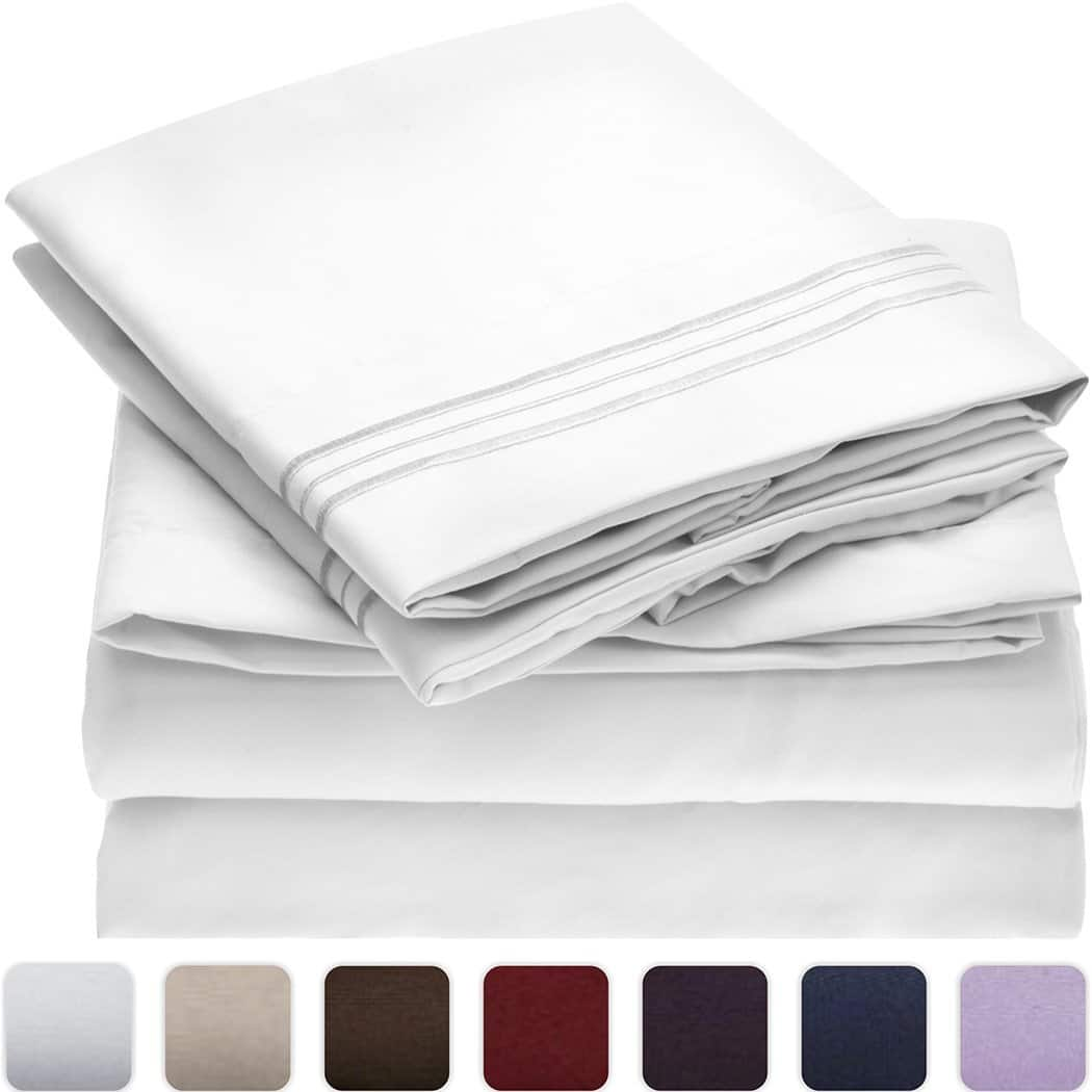 Lightning Deal: Mellanni Bed Sheet Set Brushed Microfiber 1800 Bedding Hypoallergenic - 4 Piece (Queen, White) $11.97 Shipped Prime