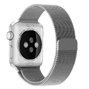 Apple Watch Band, Penom Fully Magnetic Closure Clasp Mesh Loop Milanese Stainless Steel Bracelet Strap, 42mm Silver $11 after code