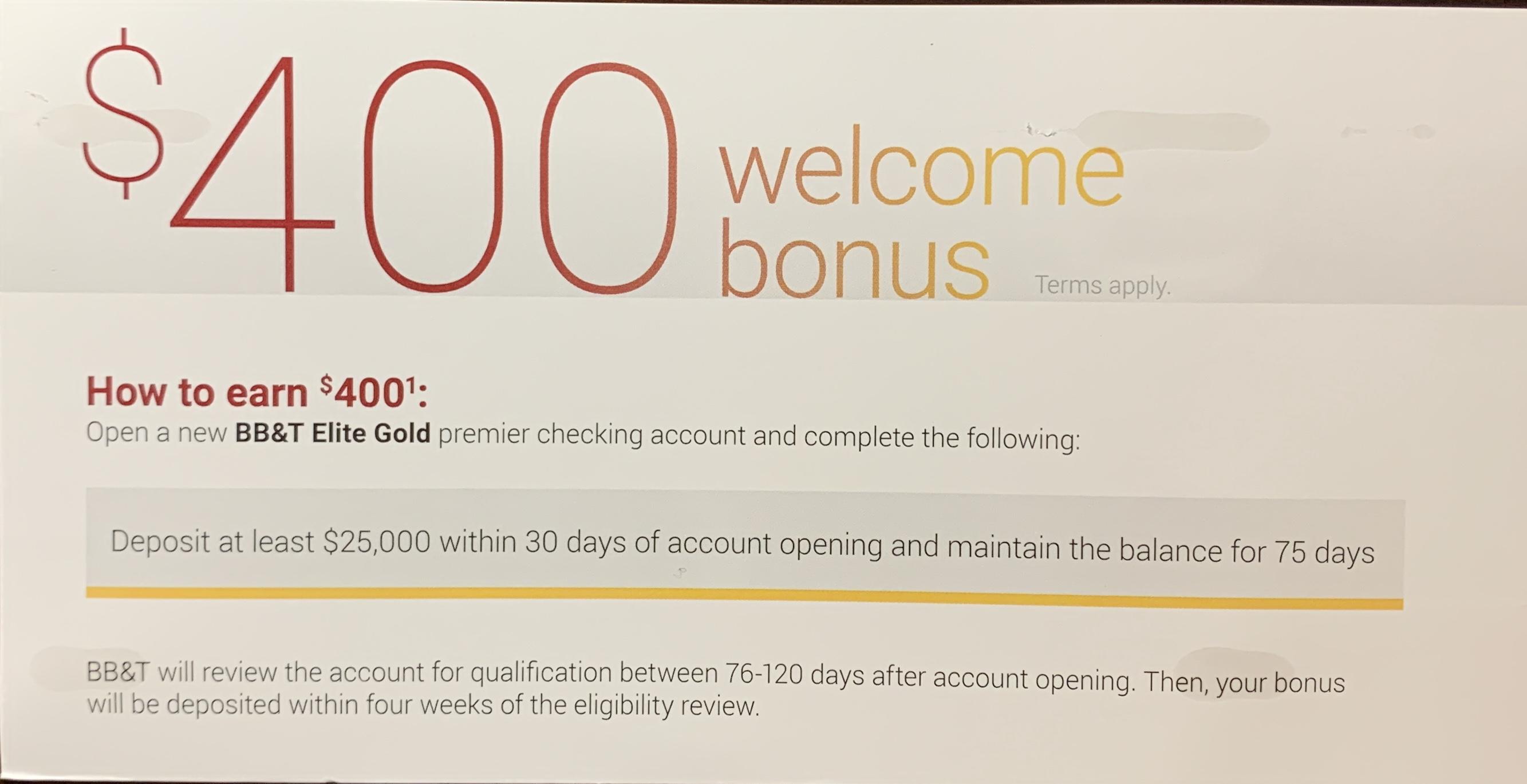 BB&T Bank $400 Bonus for Opening an Elite Gold Premier checking Acct w/ $25,000
