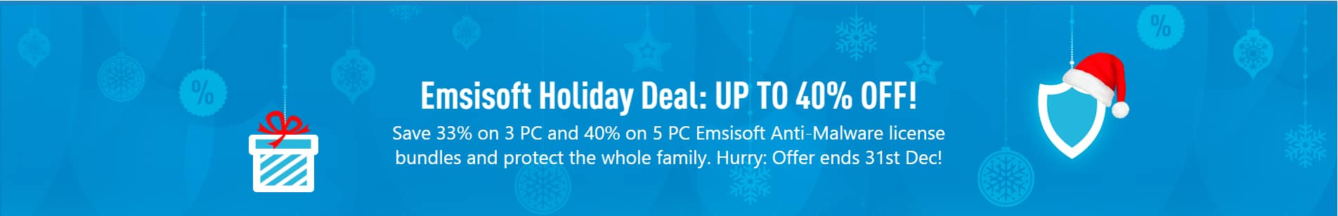 Emsisoft Anti-Malware anti-virus 3 pc license for $39.96 and 5 pc license for $59.85