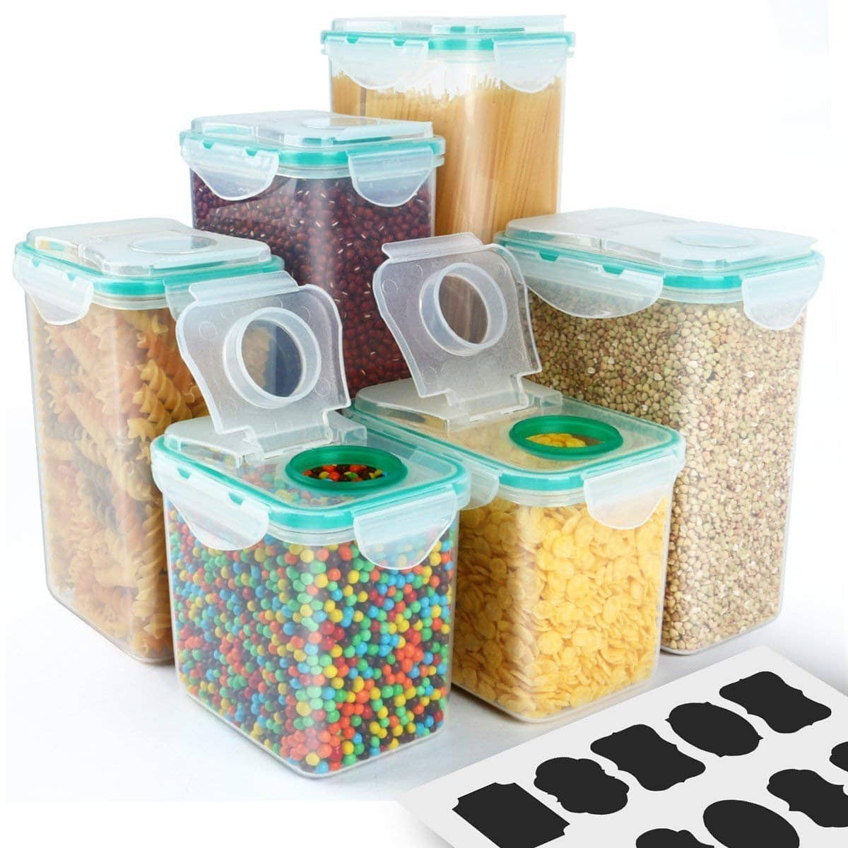 VERONES 6 Pack Airtight Plastic Storage Containers Perfect for Food Storage  Containers Kitchen Storage Containers $16.24 @Amazon +FS