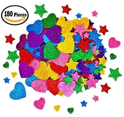 Glitter Stars and Mini Heart Shapes Foam Sticker 180 Pieces $5.84 @Amazon